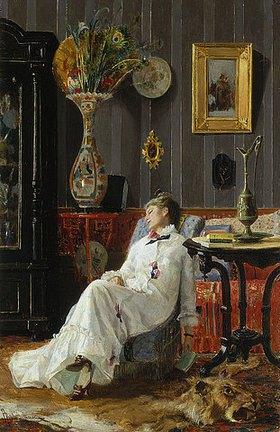 Adolfo Belimbau: Schlafende Frau im Sessel