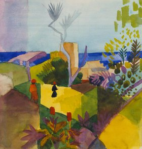 August Macke: Landschaft am Meer
