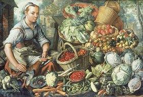 Joachim Beuckelaer: Obst- und Gemüsestilleben mit Marktfrau