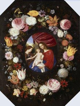 Adriaen van Stalbemt: Madonna im Blumenkranz. (Die Blumen von Jan Brueghel d.J.)