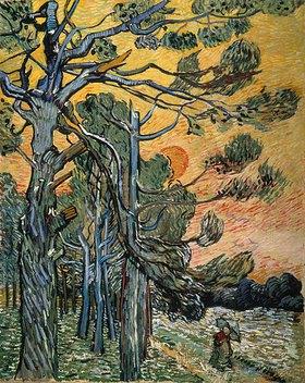 Vincent van Gogh: Kiefern mit untergehender Sonne und weiblicher Figur