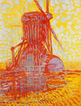 Piet Mondrian: Rote Mühle im Gegenlicht