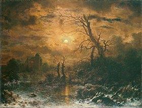 Richard August Zimmermann: Winterlandschaft bei Nacht