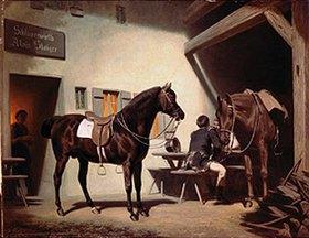 Friedrich Wilhelm Pfeiffer: Das Pferd Luitprant vor dem Schluxerwirt (1870-ger Jahre)