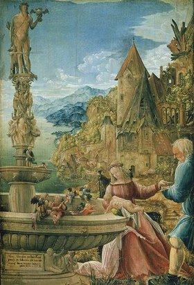 Albrecht Altdorfer: Thronende Madonna am Brunnen (Ruhe auf der Flucht)