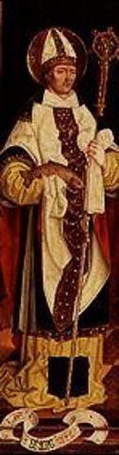 Bartholomeus Zeitblom: Der hl.Ursus als Bischof, in der rechten Hand einen Fisch haltend