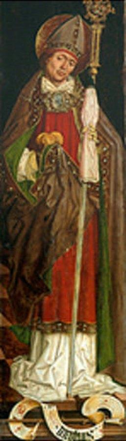 Bartholomeus Zeitblom: Der hl.Nikolaus von Myra als Bischof, mit den drei Goldkugeln