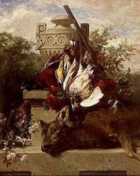Jean Baptiste Robie: Jagdstilleben mit Vögeln, Reh und Blumen