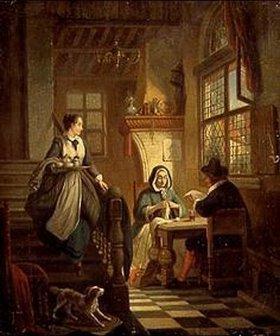William Louis Angus: Ehepaar am Tisch und Magd mit Tablett