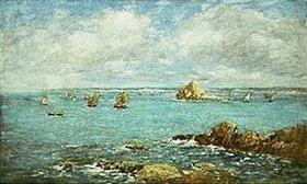 Eugène Boudin: Douarnenez, Meeresbucht mit Schiffen