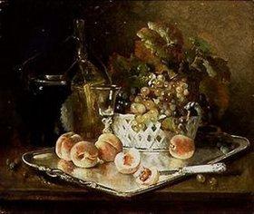 Eugene Henri Cauchois: Stilleben mit Pfirsichen, Trauben und Weinglas