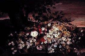 Gustave Courbet: Blumenstilleben auf einer Steinbank