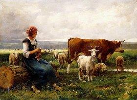 Julien Dupré: Hirtin mit Schafen, Kuh und Ziege