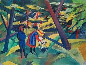 August Macke: Kinder mit Ziege im Wald