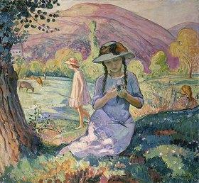 Henri Lebasque: Mädchen beim Blumenpflücken