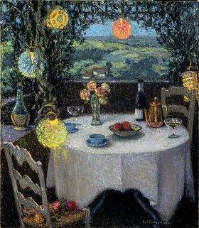 Henri Le Sidaner: Das Tischlein in der Gartenlaube