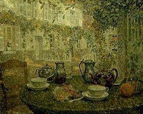 Henri Le Sidaner: Kaffeegeschirr auf einem Steintisch