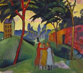 August Macke: Landschaft mit drei Mädchen