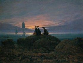 Caspar David Friedrich: Mondaufgang am Meer (Pendant zu Bildnummer 479)
