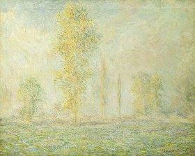 Claude Monet: Wiesenlandschaft mit Bäumen bei Giverny im Morgenlicht