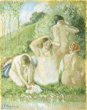 Camille Pissarro: Gruppe von Badenden