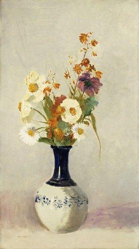 Odilon Redon: Blumen in schwarz-weisser Keramikvase