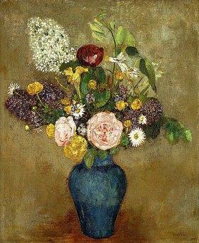 Odilon Redon: Frühlingsblumen in hoher blauer Vase