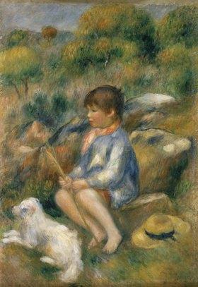 Auguste Renoir: Junge mit seinem kleinen Hund an einem Bachufer