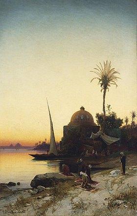 Hermann David Salomon Corrodi: Moslems beim Abendgebet am Ufer des Nil