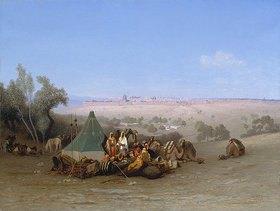 Charles-Theodore Frère: Lagernde Araber auf dem Ölberg mit Blick auf Jerusalem