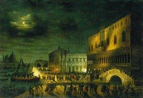 Carlo Grubacs: Karnevalstreiben auf der Piazza San Marco in Venedig