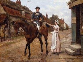 George Goodwin Kilburne: Berittener Postbote beim Einsammeln der Post in einem englischen Dorf