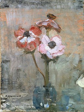 Piet Mondrian: Anemonen in Glasvase