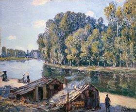 Alfred Sisley: Hütten am Loing-Kanal im Sonnenlicht
