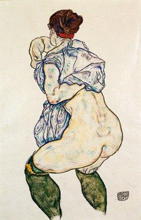 Egon Schiele: Weiblicher Halbakt mit grünen Strümpfen