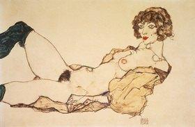 Egon Schiele: Liegender Akt mit grünen Strümpfen