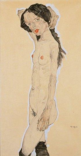Egon Schiele: Stehender Akt mit über den Kopf gelegtem Arm