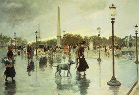 Georges Stein: Auf der Place de la Concorde bei Regen