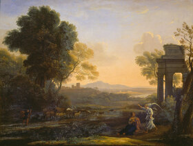 Claude Lorrain (Gellée): Landschaft mit Hagar und dem Engel