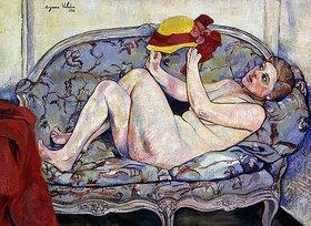 Suzanne Valadon: Liegender weiblicher Akt auf einer Chaiselongue mit Hut in der Hand