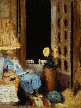 Edouard Vuillard: Madame Hessel, lesend vor dem abendlichen Fenster (Madame Hessel dans le Petit Salon, Château des Clayes, la fenêtre ouverte sur la Nuit)