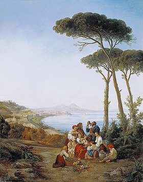 Consalvo Carelli: Italienische Gesellschaft über der Bucht von Neapel