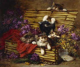 Léon Charles Huber: Ein Korb voller Katzen