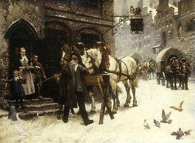 Harry Jochmus: Pferdefüttern vor einem Gasthof im Winter