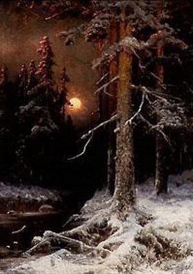 Julius Sergius von Klever: Winterliche Waldlandschaft mit Vollmond