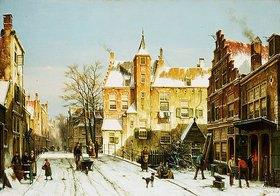 Willem Koekkoek: Holländische Stadt im Winter