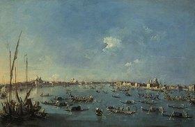 Francesco Guardi: Regatta auf dem Canale della Giudecca. Lwd., 61 x 93