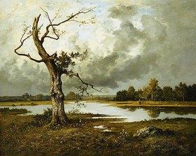 Léon Richet: Französische Flusslandschaft mit absterbendem Ba
