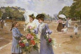Louis Marie de Schryver: Blumenverkäuferin auf der Avenue du Bois de Boulogne