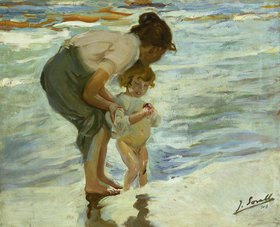 Joaquin Sorolla: Mutter und Kind am Strand